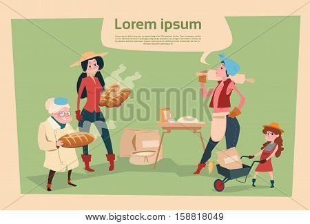 Farmer Country Woman Cooking Bread Agriculture Cartoon Character Flat Vector Illustration