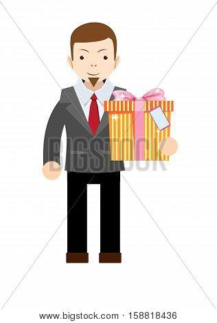 Businessman holding a big gift box. Stock vector illustration