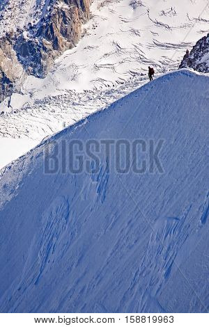 Climbing down the ridge on Mont Blanc (Aiguille du Midi)