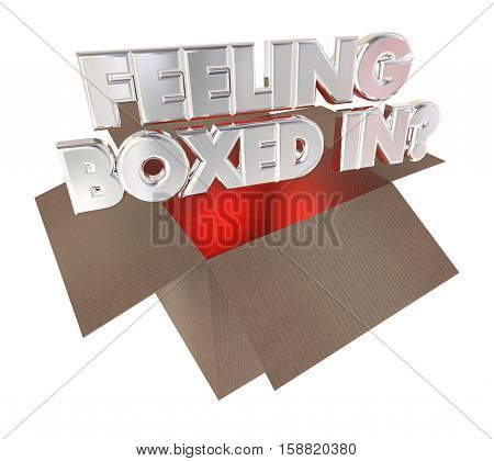 Feeling Boxed In Cardboard Package Trapped 3d Illustration
