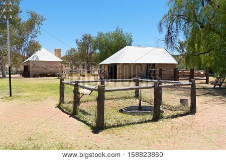 evaporation tank shoeing yard and battery room at historic alice springs telegraph station in northern territory of australia