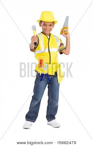 cute little boy in construction uniform and holding tools