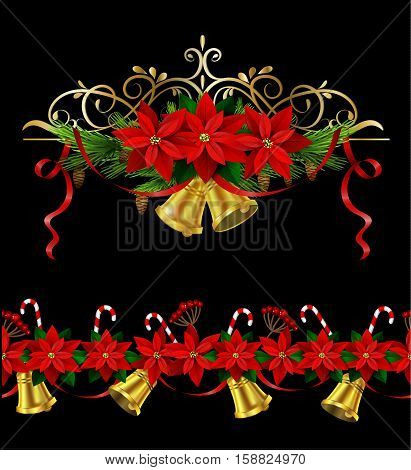 Christmas set decorations with evergreen treess holly and pinecone and poinsettia and ribbon isolated and seamless border