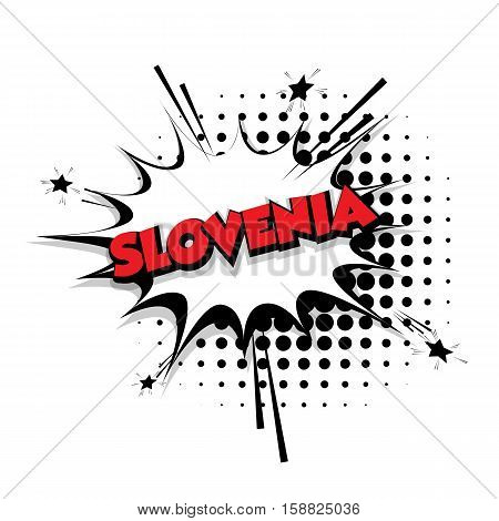 Lettering Slovenia Comic text sound effects pop art vector Sound bubble speech phrase cartoon text cartoon balloon expression sounds illustration Comic text background template. Comics book balloon