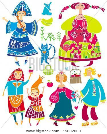 Decorative set of Slavonic cartoon characters: beautiful women, young girl in ethnic dress, boyfriend and girlfriend, basket of apples, cat. Funny characters isolated on white background