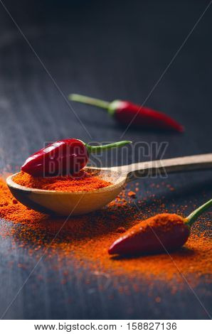 Red chilly peppers on a wooden, black table with spicy. Chilly on a wooden spoon. Vegetable. Concept of hot food.