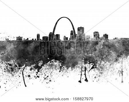 St Louis skyline in black watercolor on white background