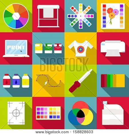 Print items icons set. Flat illustration of 16 print items vector icons for web