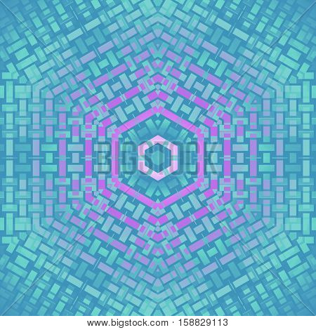 Abstract geometric seamless modern background. Regular hexagon pattern in turquoise, violet and purple shades centered.