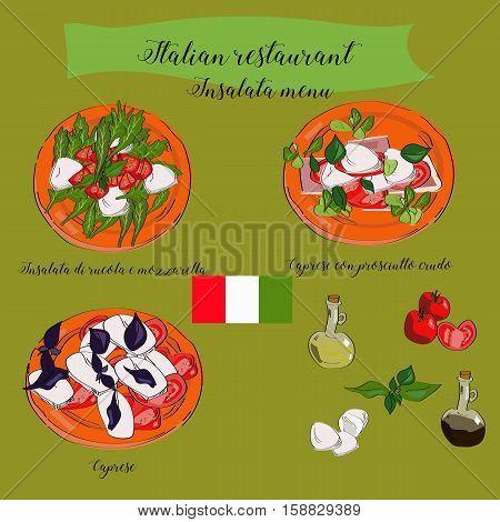 Salads Menu For Italian Restaurant, Caprese, Insalata Di Rucola E Mozzarella, Caprese Con Prosciutto