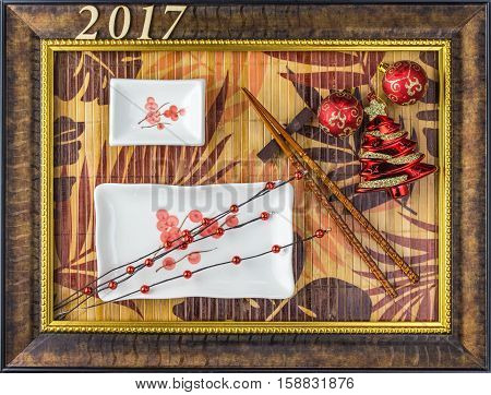 Sushi plate Christmas background in the frame of the picture with leaves