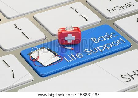 Basic Life Support key on keyboard 3D rendering