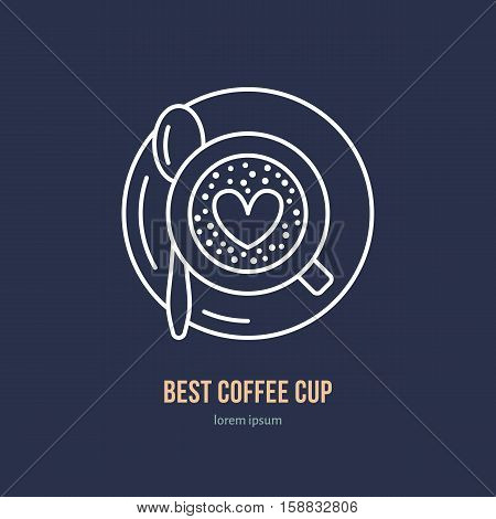 Vector line icon of coffee cup. Coffee shop linear logo. Outline symbol of espresso, cappuccino, americano for cafe, bar, restaurant logotype