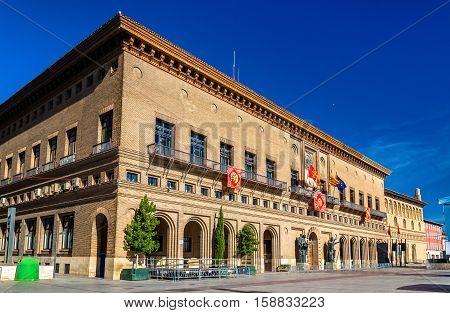The City Hall of Zaragoza in Spain, the Aragon Region