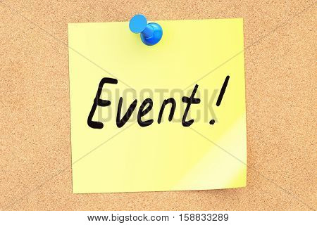 Event note pinned o a cork notice board 3D rendering