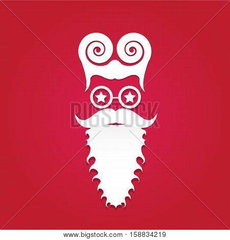 Christmas poster for party or greeting card. Vector illustration. Santa Hipster Claus. vector merry christmas art design