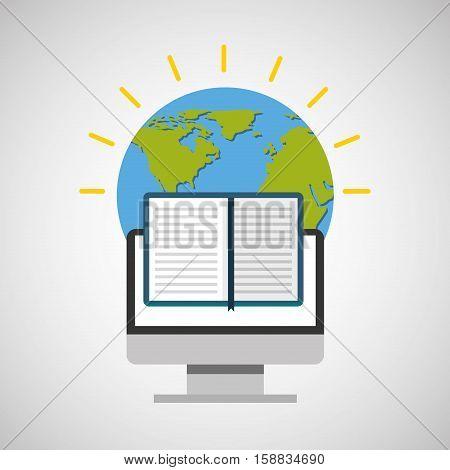 education online global e-book vector illustration eps 10
