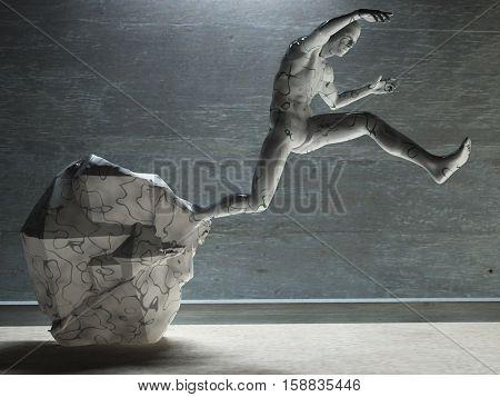 3D render. Men's figure made of stone.   3D Render