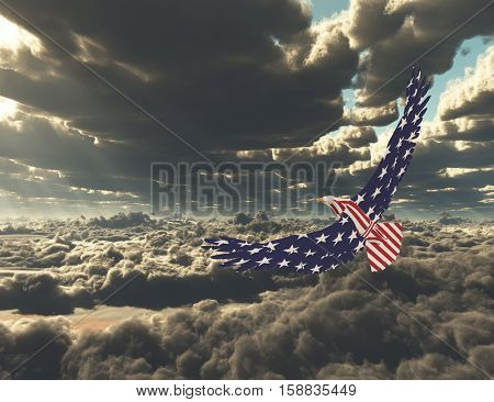 Eagle in national colors is flying above the clouds.   3D Render