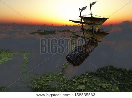 Ancient ship flies in clouds   3D Render