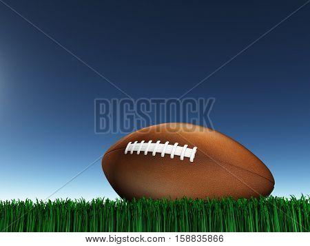 Foot ball on grass   3D Render