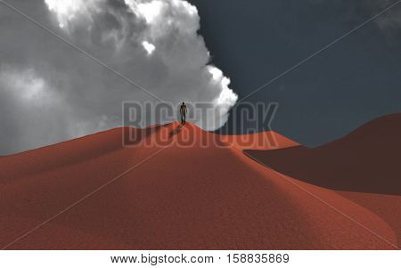 Lonely man in desert   3D Render