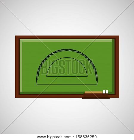 education concept blackboard with protractor vector illustration eps 10