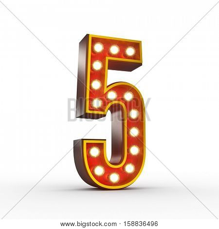 High quality 3D illustration of the number five in vintage style with light bulbs illuminating it. Clipping path included.