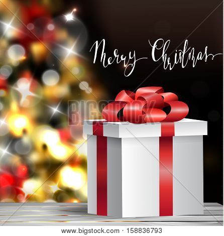 Christmas tree light background. Vector on dark with handwritten Merry Christmas and gift box