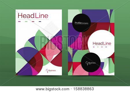 Geometric design, business annual report a4 brochure template