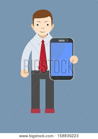 office worker showing a blank smart phone screen vector illustration