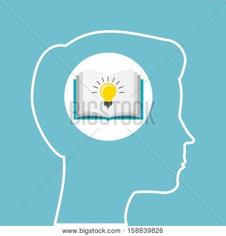 silhouette head boy book idea education online vector illustration eps 10
