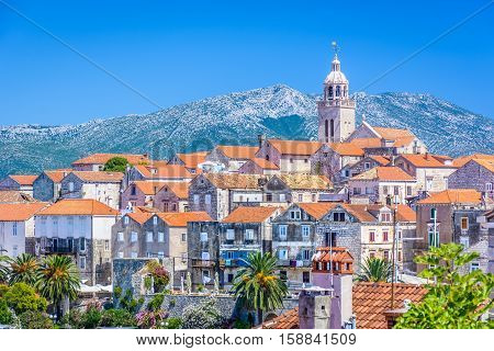 Aerial view on old city center of town Korcula, famous touristic destination in Croatia.
