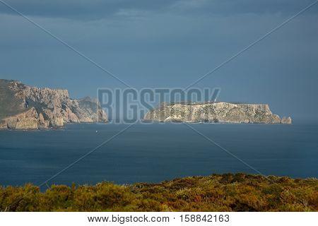 Tasman Island and Cape Pillar in the distance, Tasmania, Australia