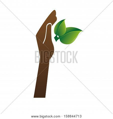 plant with hand isolated icon vector illustration design