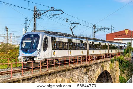 Hendaye, France - October 9, 2016: Metro Donostialdea train on the Spain - France border. It is a meter-gauge system serving the city of San Sebastian and the Donostialdea area, reaching France.