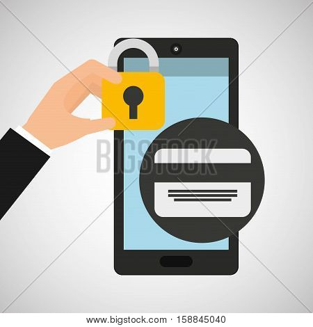 smartphone credit card money security vector illustration eps 10