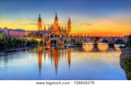 Basilica of Our Lady of the Pillar and the Ebro River - Zaragoza, Spain