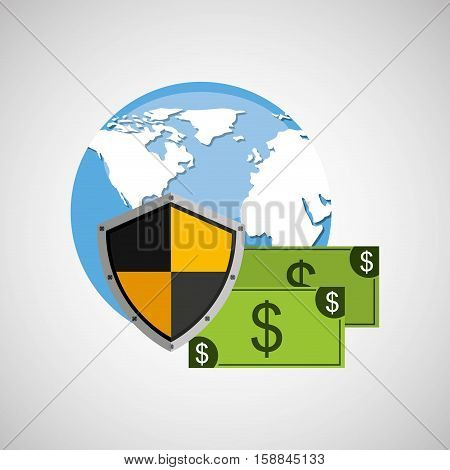 globe banknote banking safe shield protection vector illustration eps 10