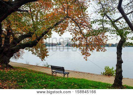 Autumn in Washington DC - Jefferson Memorial as seen from Tidal Basin
