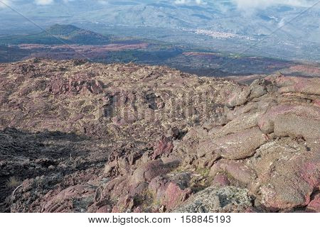 top view old cooled lava in the north Etna National Park, Sicily