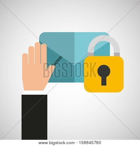 hand holds email security icon vector illustration eps 10