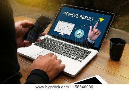 Achieve Result , Results Compass , Businessman Achieve Result ,  Results And Expectations , Get Resu