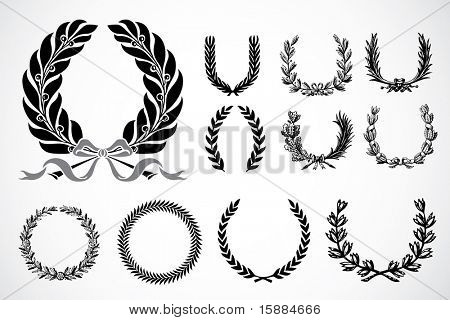 Vector Olive Leaf Wreaths
