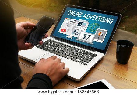 Online Advertising Man Working On Laptop , Online Advertising Website Marketing , Update Trends Repo