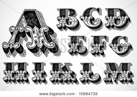 Vector Decorative Alphabet - A-M
