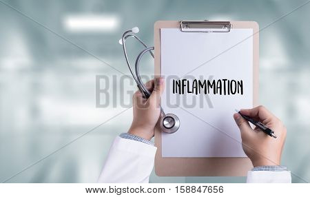 Inflammation   Joint Inflammation Concept ,  Inflammation - Medical Report , Lymph Glands Inflammati