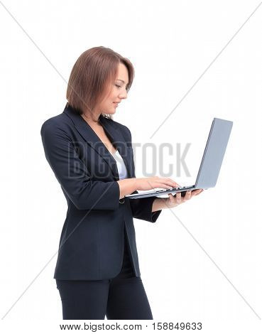 Beautiful businesswoman working on laptop.