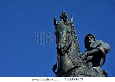 Bartolomeo Colleoni a powerful italian soldier of fortune equestrian monument in Venice cast by renaissance artist Verrocchio in the 15th century (with copy space)