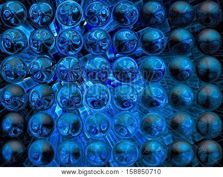 Abstract tech fractal background - computer-generated image. Digital art: surreal glossy bubbles with reflections. Technology or mystic pattern.